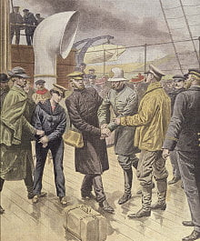 The arrest of Dr Crippen and Ethel le Neve on the Montrose from Le Petit Journal of 14 August 1910