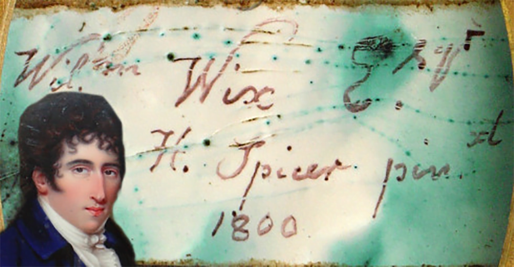 The image below shows Henry Spicer signature on the back of the enamel. William Wix image has been superimposed for effect only.