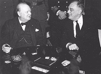 Photo of Theodore Roosevelt and Winston Churchill who where both Freemasons