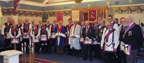The three principals and companions (note the dress code), leathers allowed but with white collar and Masonic tie a must.