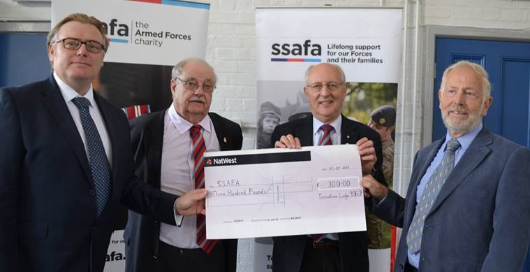 Photo of Derbyshire Freemasons Donate £600 to SAFFA Armed Forced Charity