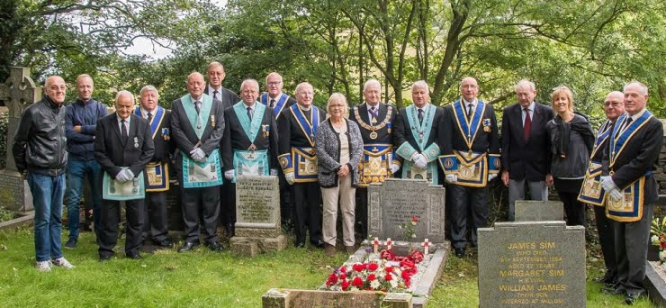 Picture Members of Whitwell Lodge No. 1390, Huddleston Lodge No. 6041 and Bro Mayson's family at the memorial service