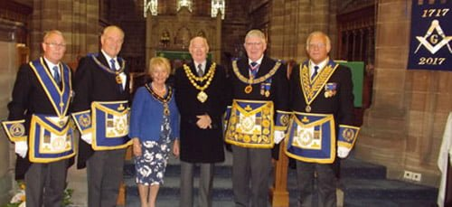 Pictured, from left to right, are: Geoffrey Porter, Tony Bent, Mayoress Mrs Joan Clarke, Mayor of Wigan, Councillor Bill Clarke, Tony Harrison and David Ogden.